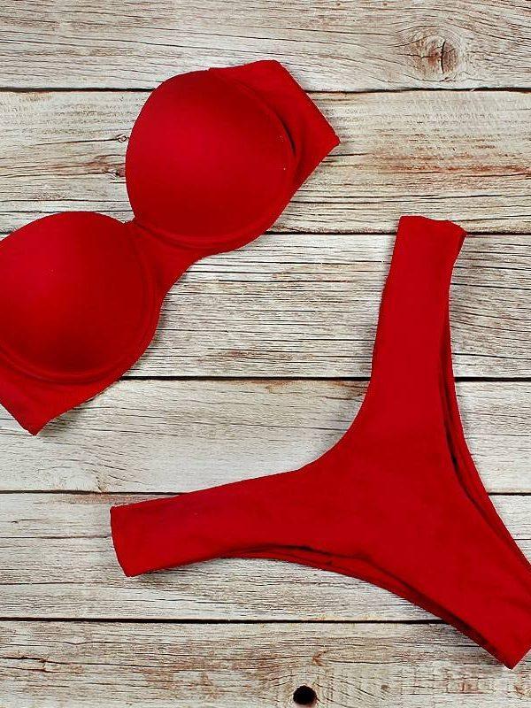 High waist brazilian push up bikini set