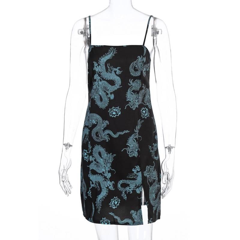 Dragon print sleeveless mini dress