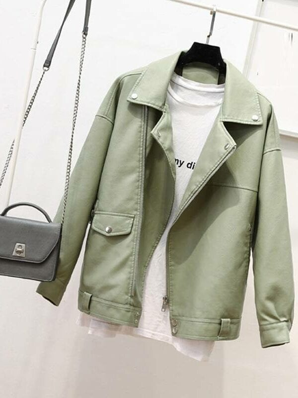 Soft leather loose turndown collar rivet zipper punk jacket
