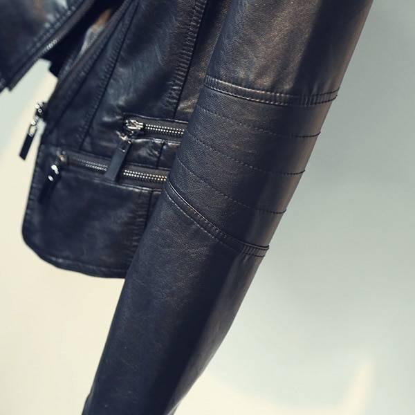 Motorcycle leather turn-down collar zipper black jacket