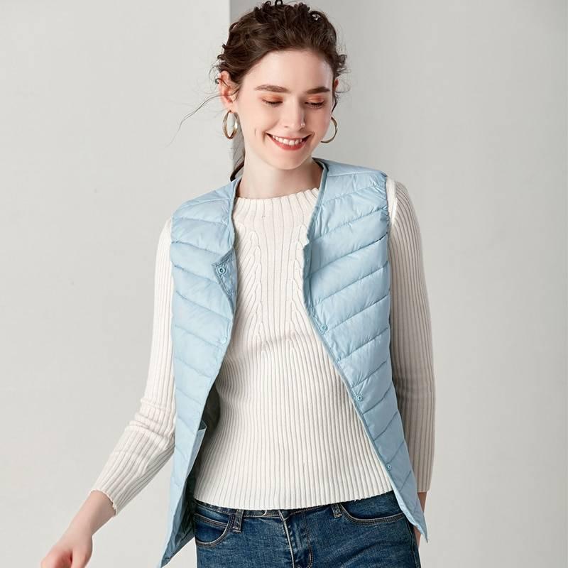 Round collar sleeveless ultra light vest jacket