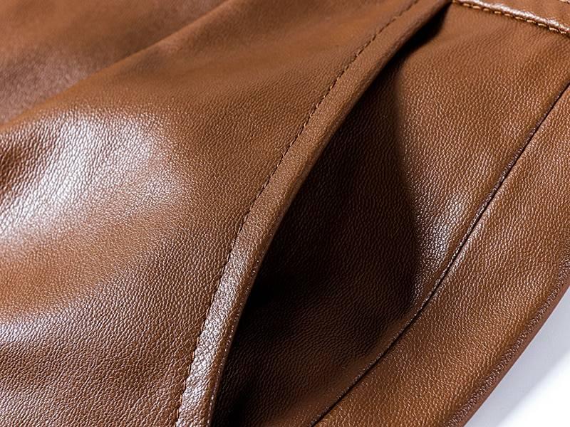 High waist knee length straight leather shorts