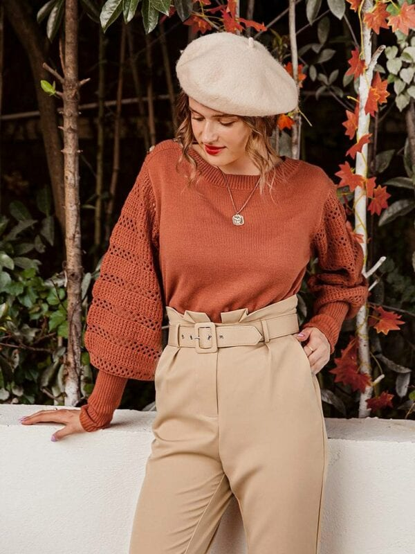 Knitted long sleeve brick red pullover sweater