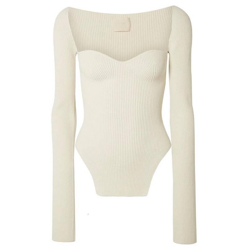 Sqaure collar full sleeves elastic high waist pullover