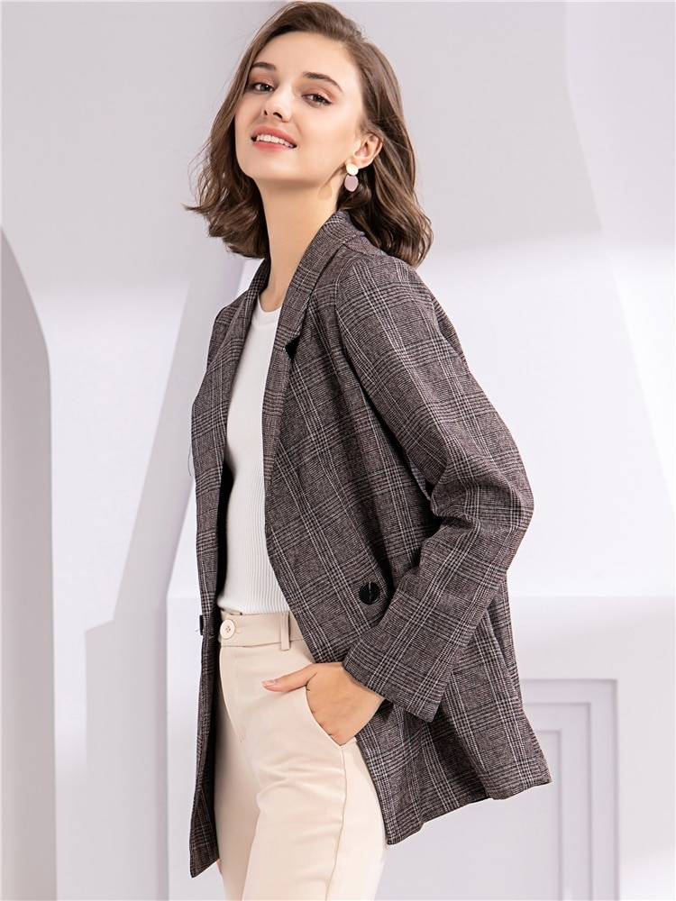 Plaid double breasted pockets formal jacket