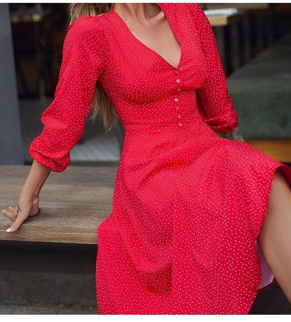 Red dot printing deep v-neck a-line long dress