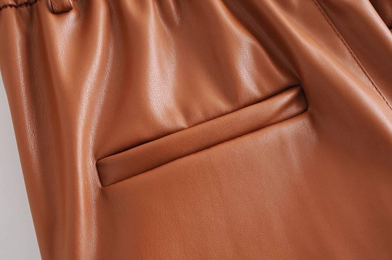 High waist black pu leather loose pencil pocket pants