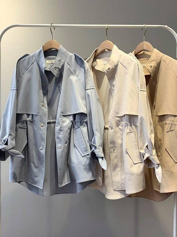 Loose windbreaker drawstring stand collar short trench coat