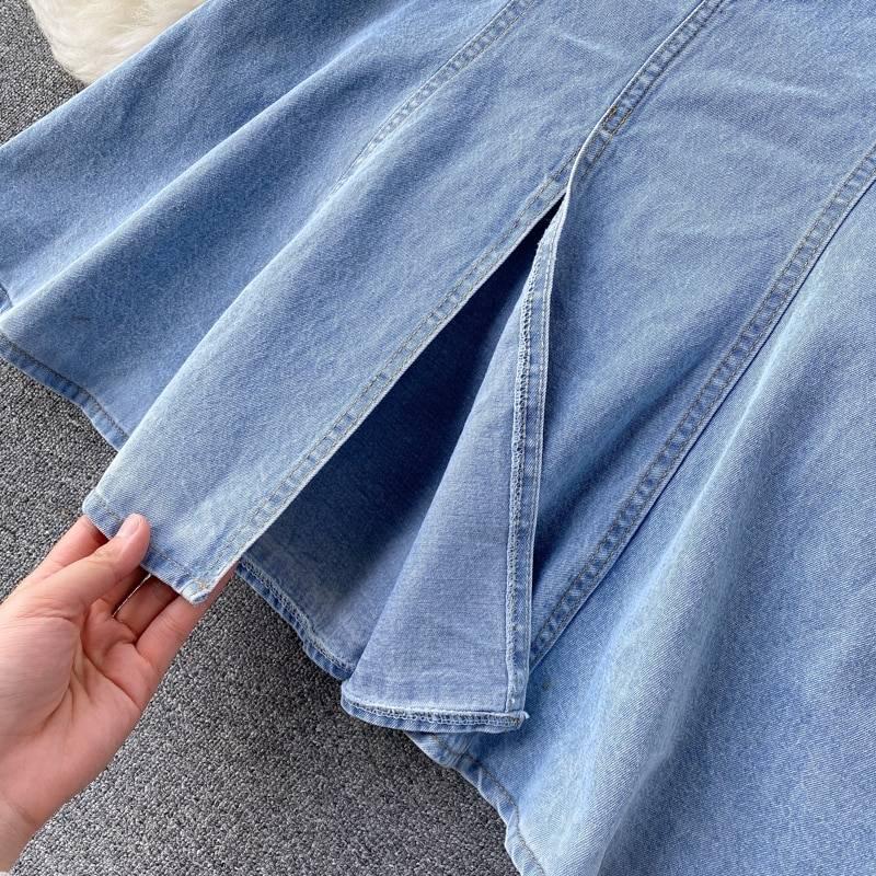 Vintage backless single breasted short sleeve denim dress