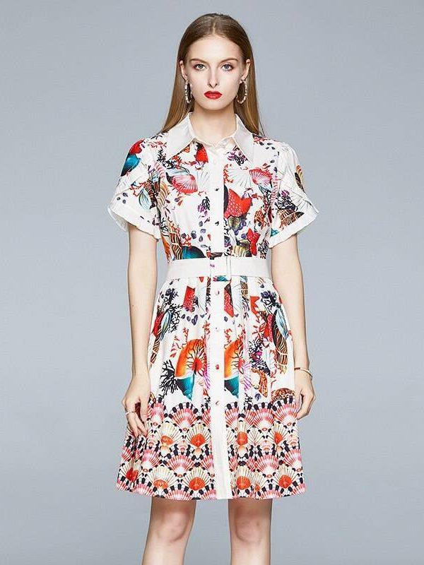 Scallop shell flower print short sleeve single-breasted shirt belt dress