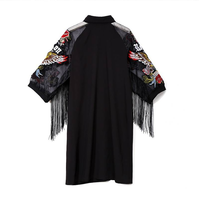Black 3/4 mesh sleeves with eagle embroidery fringes midi straight dress
