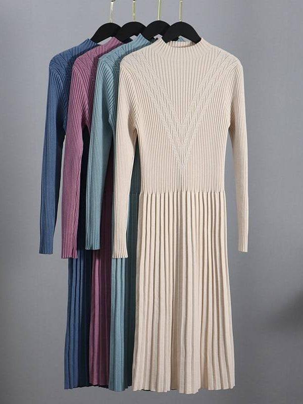 Rib turtleneck a line pleated office sweater dress