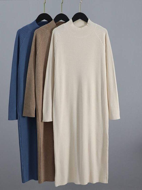 Oversized long straight turtleneck thick warm sweater dress