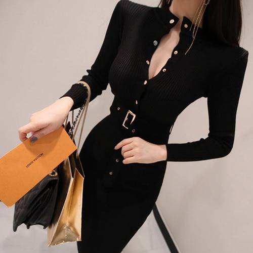 Long sleeve warm sweater knitted dress with belt