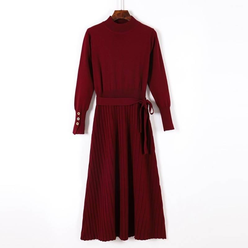 Turtleneck sashes a line long knitted pullover sweater dress