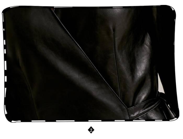 Black pu leather elegant v neck long belt jacket dress