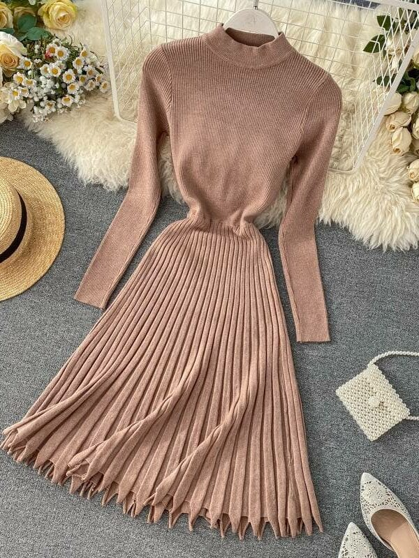 Vintage a-line pleated knitted sweater midi dress