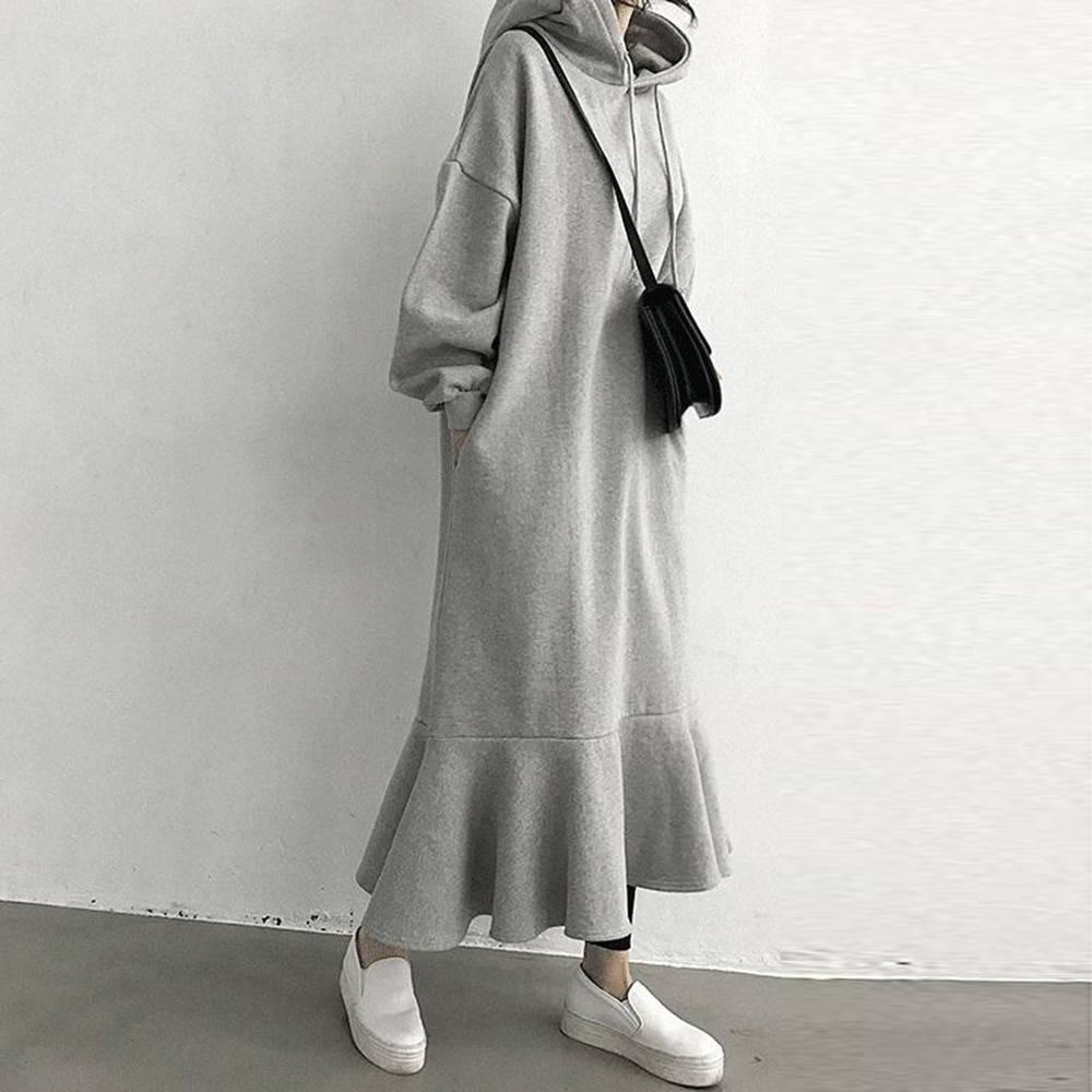 Long sleeve chic ruffle hooded loose midi dress
