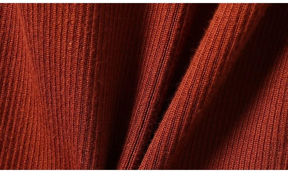 Turtleneck knitted long sleeve warm sweater dress