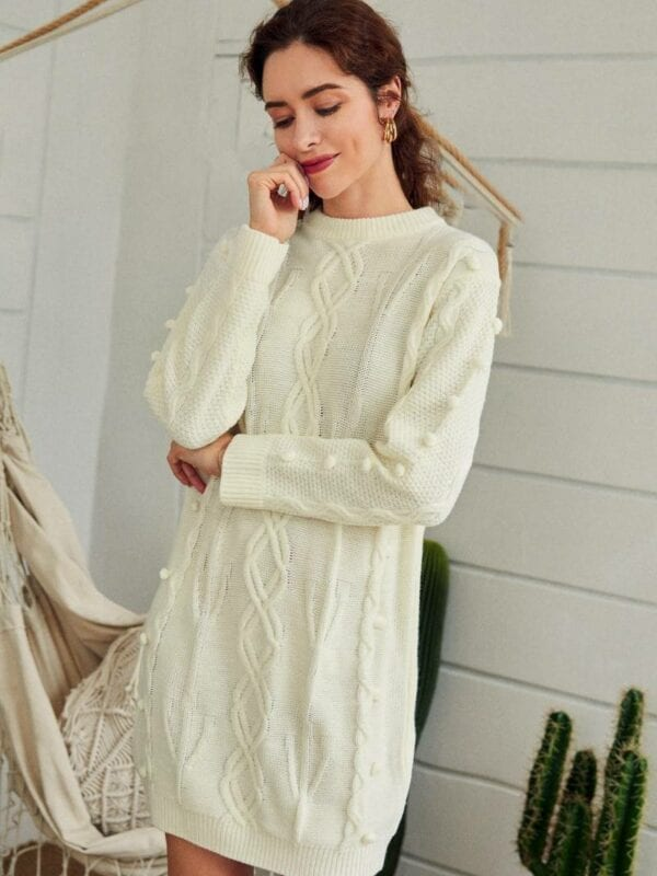 White o-neck long sleeve soft straight warm knitted sweater dress