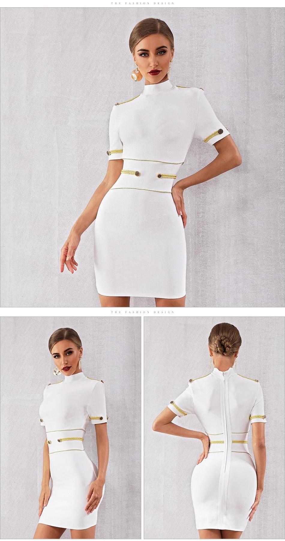 White black short sleeve elegant bodycon dress
