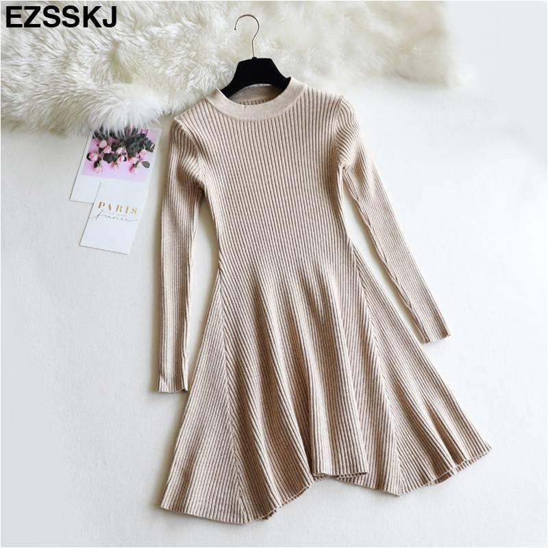 O-neck long sleeve a line knit mini sweater dress