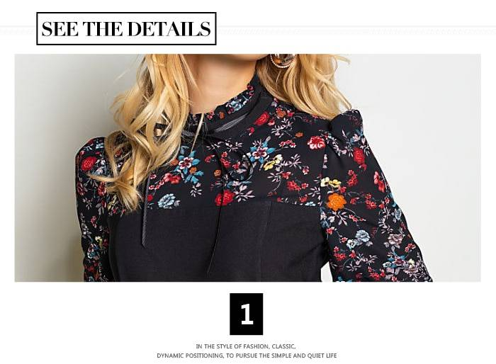 Vintage a-line no belt elegant flower print patchwork dress