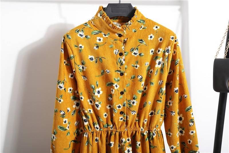 Vintage high elastic waist a-line full sleeve flower plaid print dress