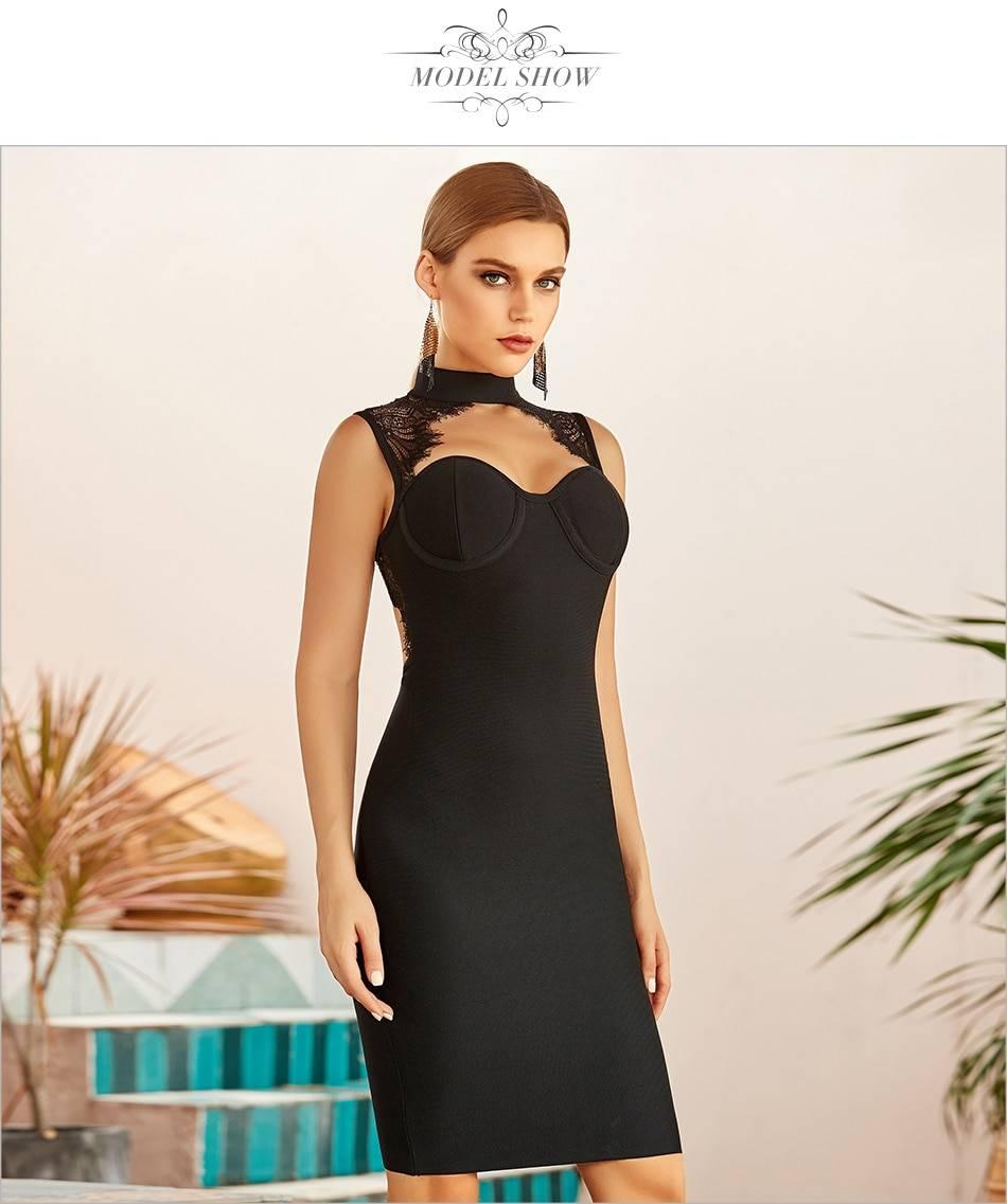 Black white lace backless hollow out midi bandage dress
