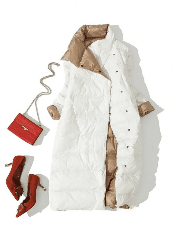 Turtleneck white duck down double breasted warm long coat jacket