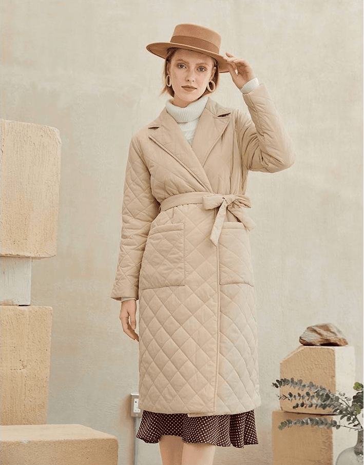 Elegant windproof long straight coat with rhombus pattern