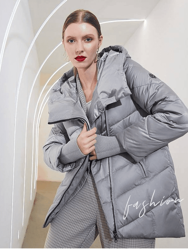 Elegant hooded cotton warm parkas coat jacket