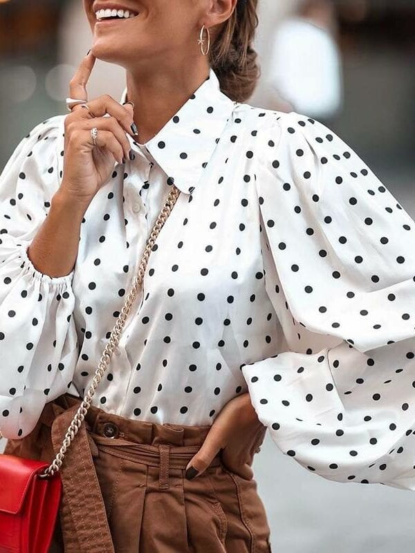 Polka dot long lantern sleeve lapel neck elegant office shirt