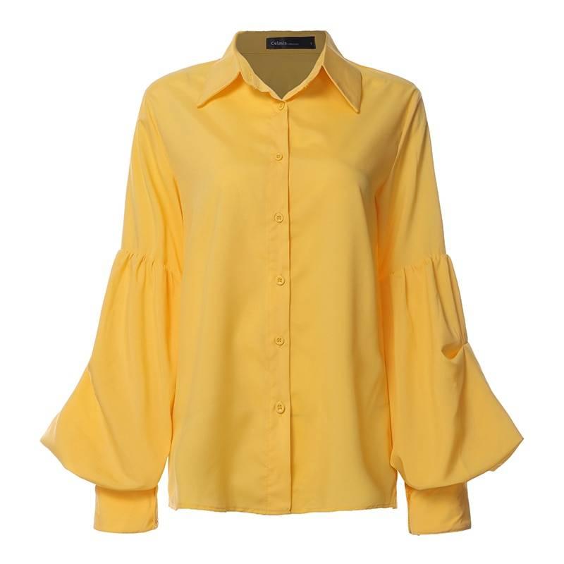Polka dot lantern sleeve loose buttons retro shirt
