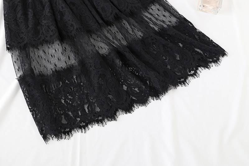 Black white elegant lotus leaf collar elastic waist midi mesh lace dress