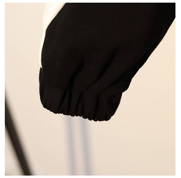 Collar white patchwork black loose cotton sweatshirt dress