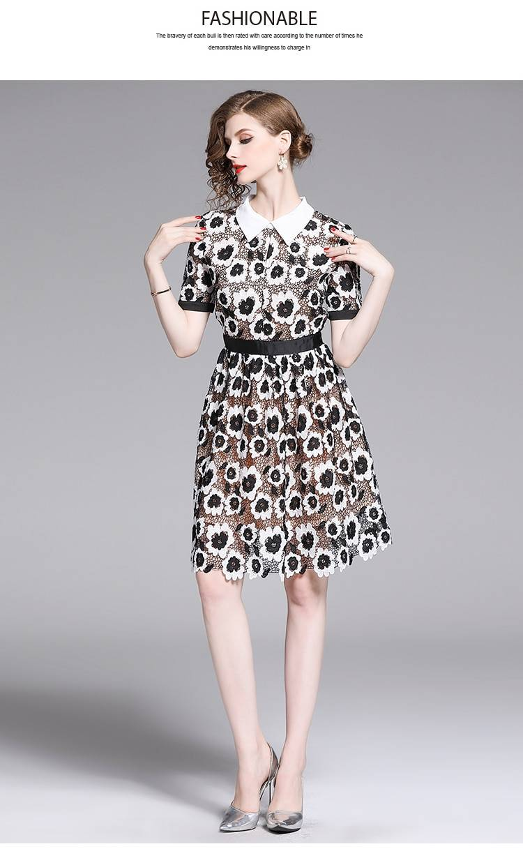 Elegant turn down collar black white floral lace embroidery dress