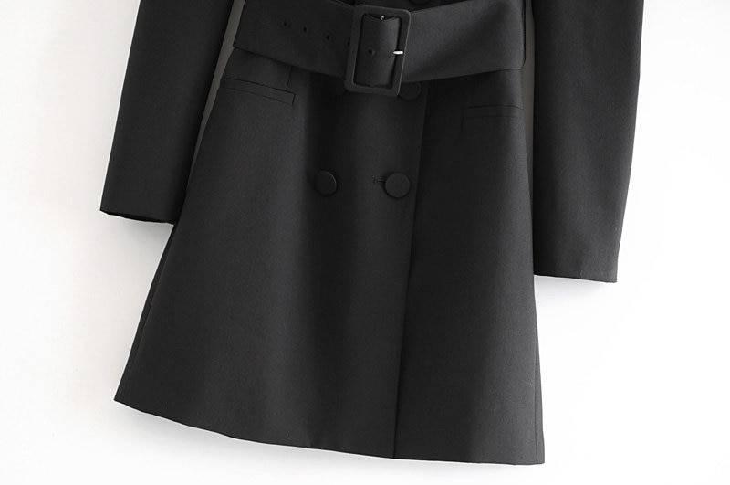Black v neck puff long sleeve a line chic mini dress