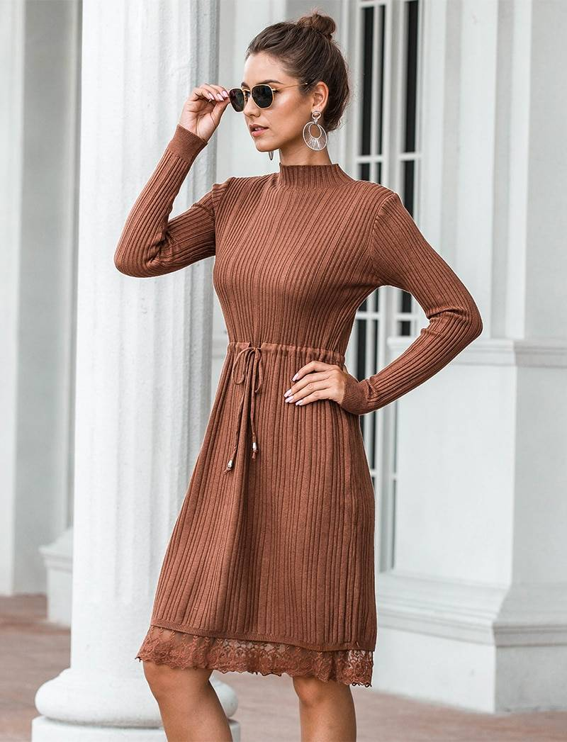 Apricot black white fit and flare long sleeve lace knitted sweater dress