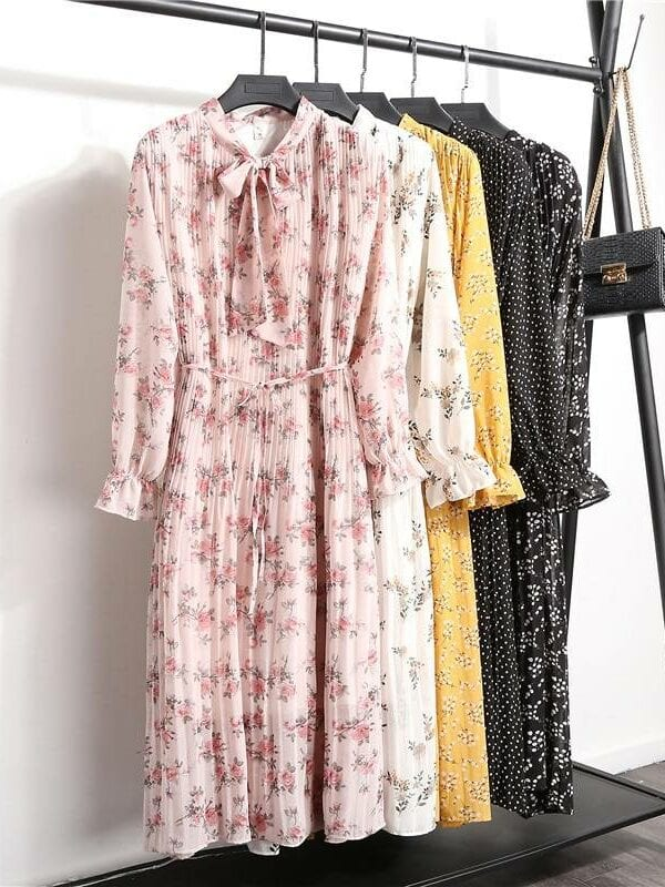 Flare sleeve lace up bow neck floral print pleated chiffon dress
