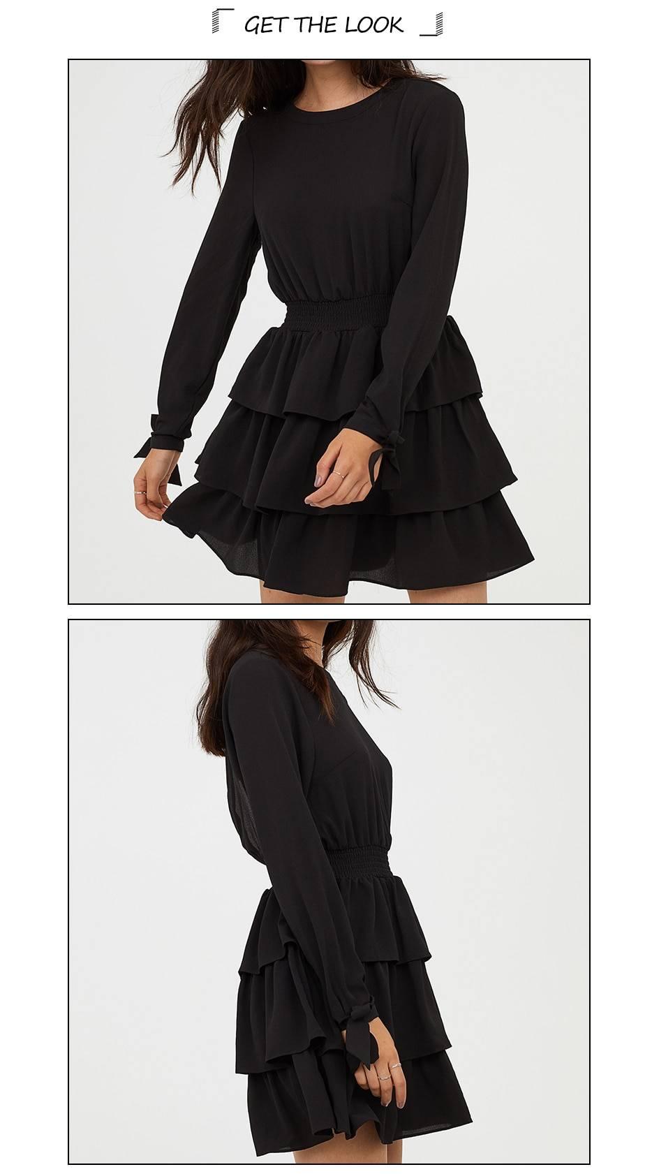 Black a-line high waist round neck ruffle bow tie backless mini dress