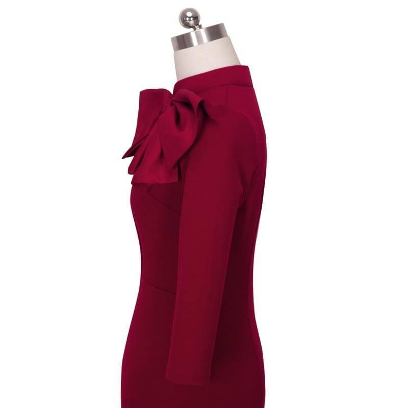 Vintage elegant floral black bow work office bodycon sheath dress