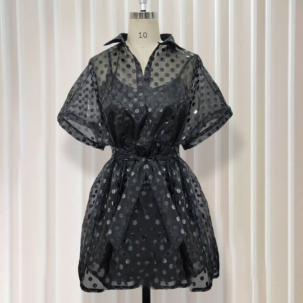 Black polka dot see through two piece dress