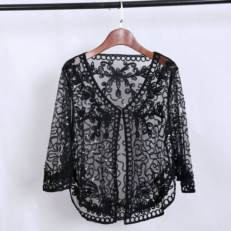 Embroidery floral crochet hollow out jacket