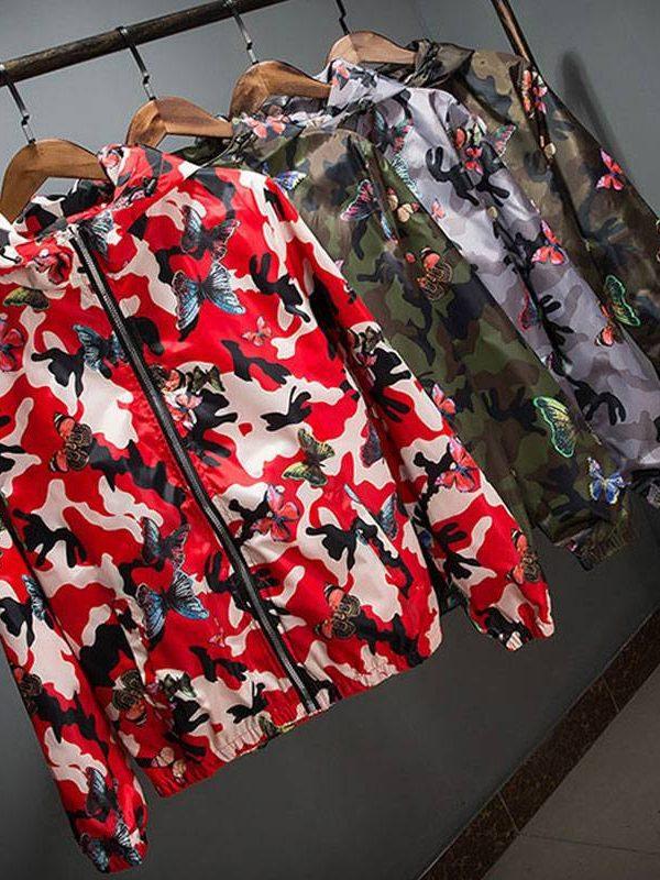 Camouflage butterfly windbreaker hooded jacket