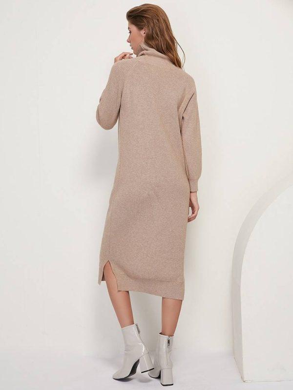 Turtleneck long sleeve knitted sweater long dress
