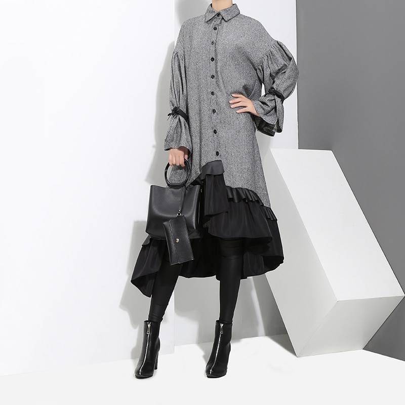 Elegant patchwork thick warm ruffled long sleeve midi gray shirt dress