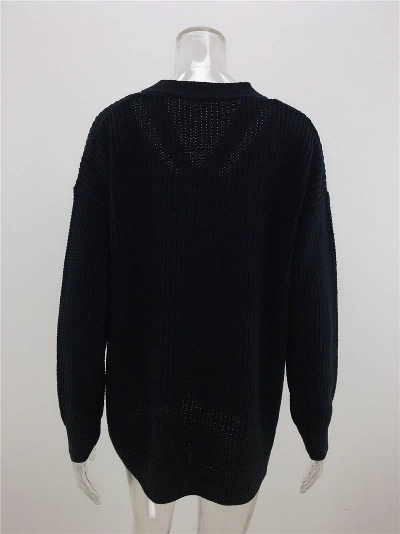 V neck oversize long sleeve sweater