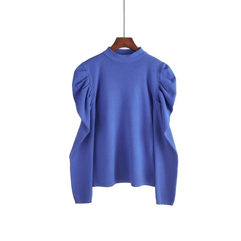 O-neck long puff sleeve pullover sweater