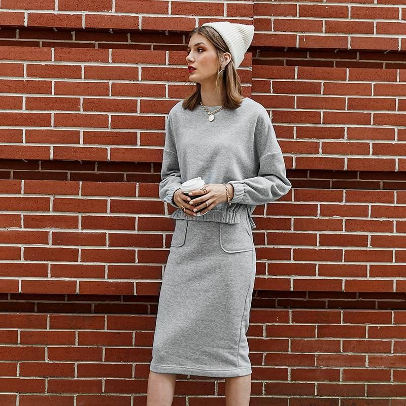 Long sleeve light grey casual women three-piece set